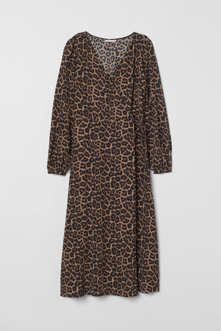 Jacquard-weave Wrap Dress - Black/leopard print - Ladies | H&M US