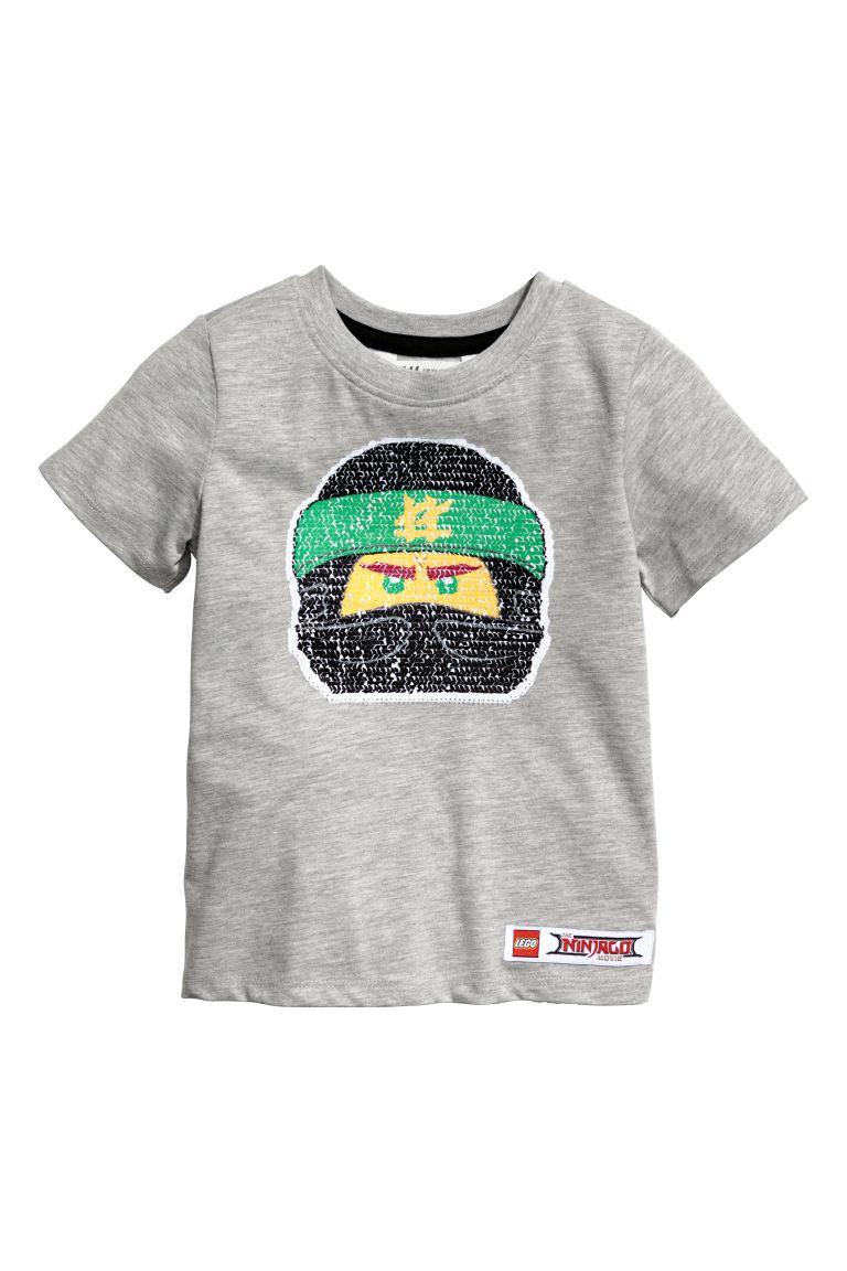 Reversible Sequin T Shirt Gray Melange Lego Kids H M Us
