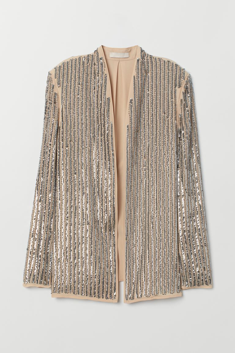 Jacket with sequins - Beige/Silver-coloured - Ladies | H&M GB