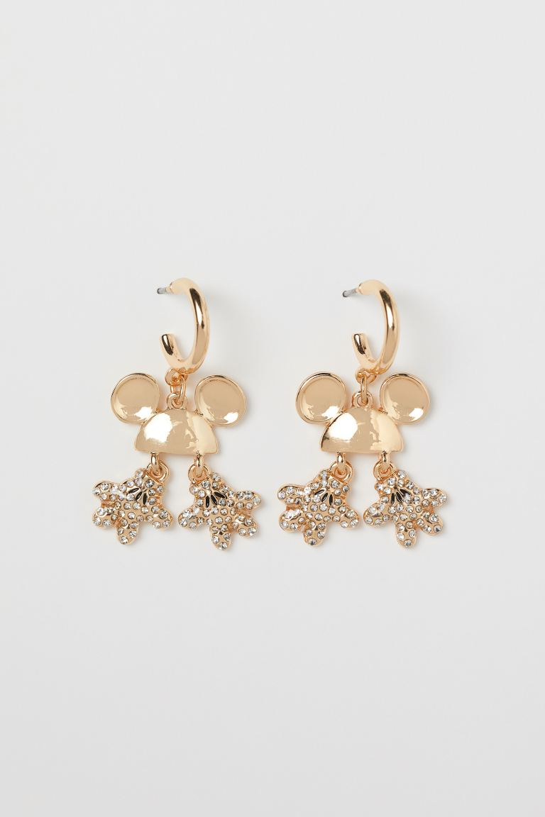 Rhinestone-decorated Earrings - Gold-colored/Mickey Mouse - Ladies | H&M CA