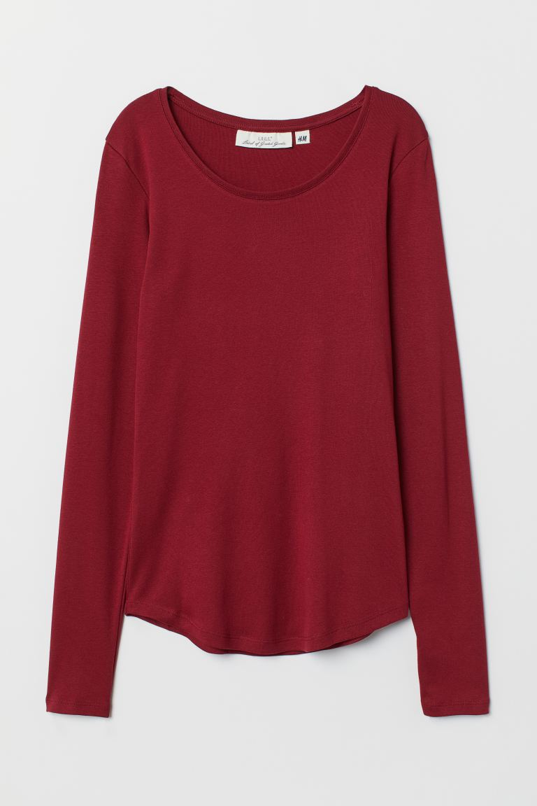 Long-sleeved jersey top - Dark red - Ladies | H&M GB