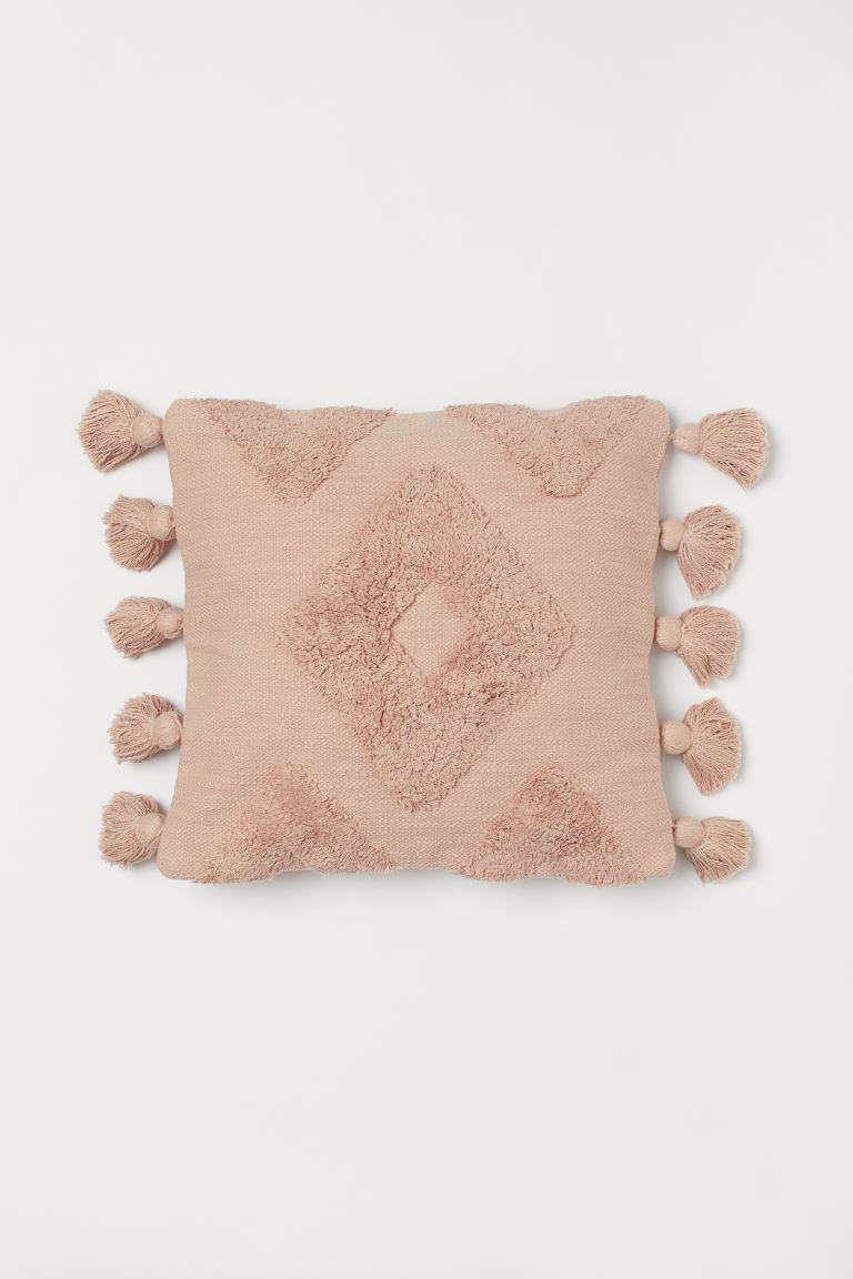 Cushion cover with tassels - Dusky pink - Home All | H&M IE