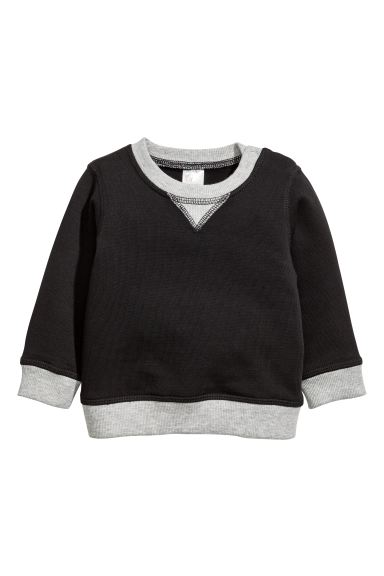Cotton sweatshirt - Black/Grey - Kids | H&M