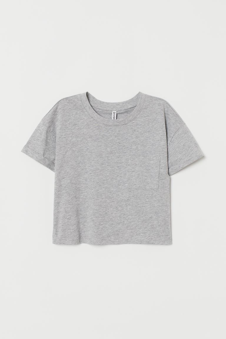 Short T-shirt - Gray melange - Ladies | H&M US