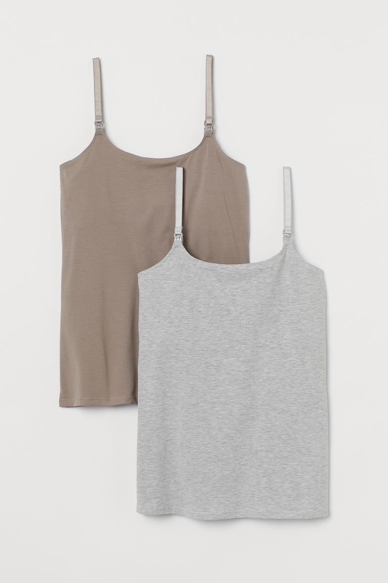 MAMA 2-pack nursing tops - Light grey marl/Mole - Ladies | H&M