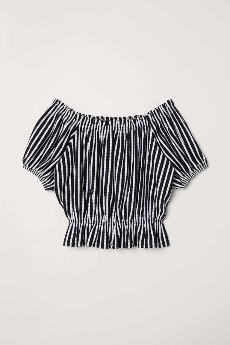 Short off-the-shoulder top - Dark blue/White striped - Ladies | H&M