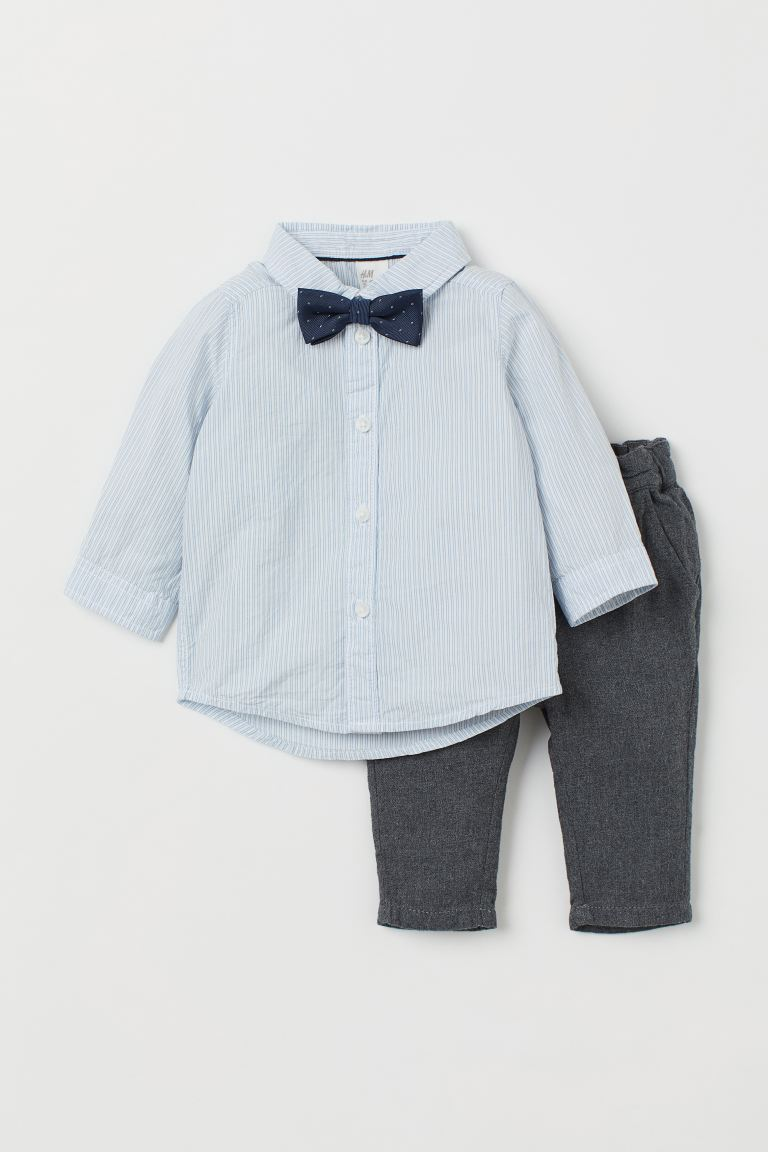 Shirt and Chinos - Blue striped/dark gray - Kids | H&M US
