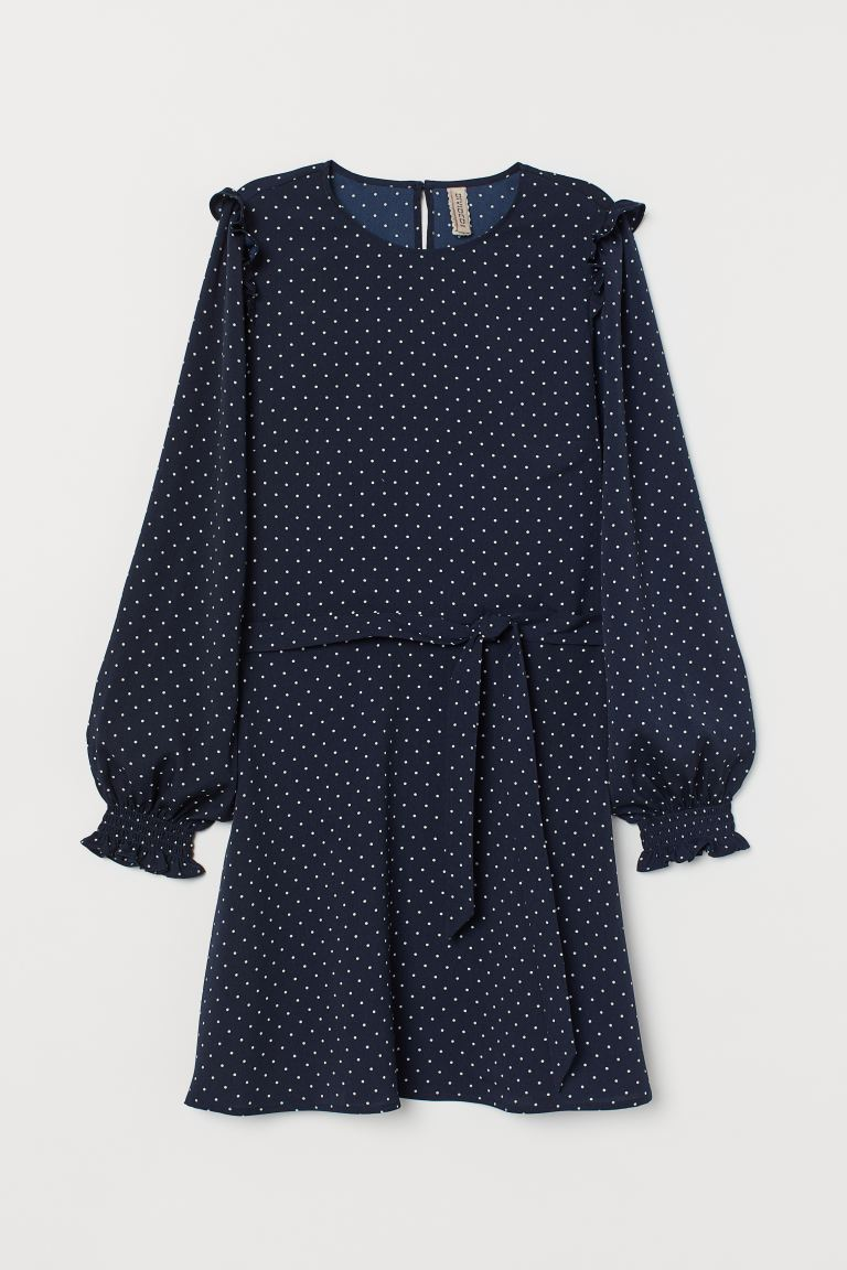 Flounce-trimmed dress - Dark blue/White spotted - Ladies | H&M GB