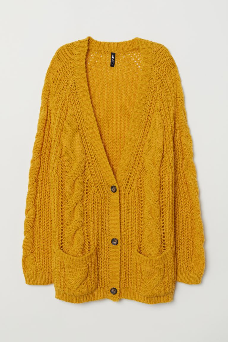 Cable-knit Cardigan - Mustard yellow - Ladies | H&M US