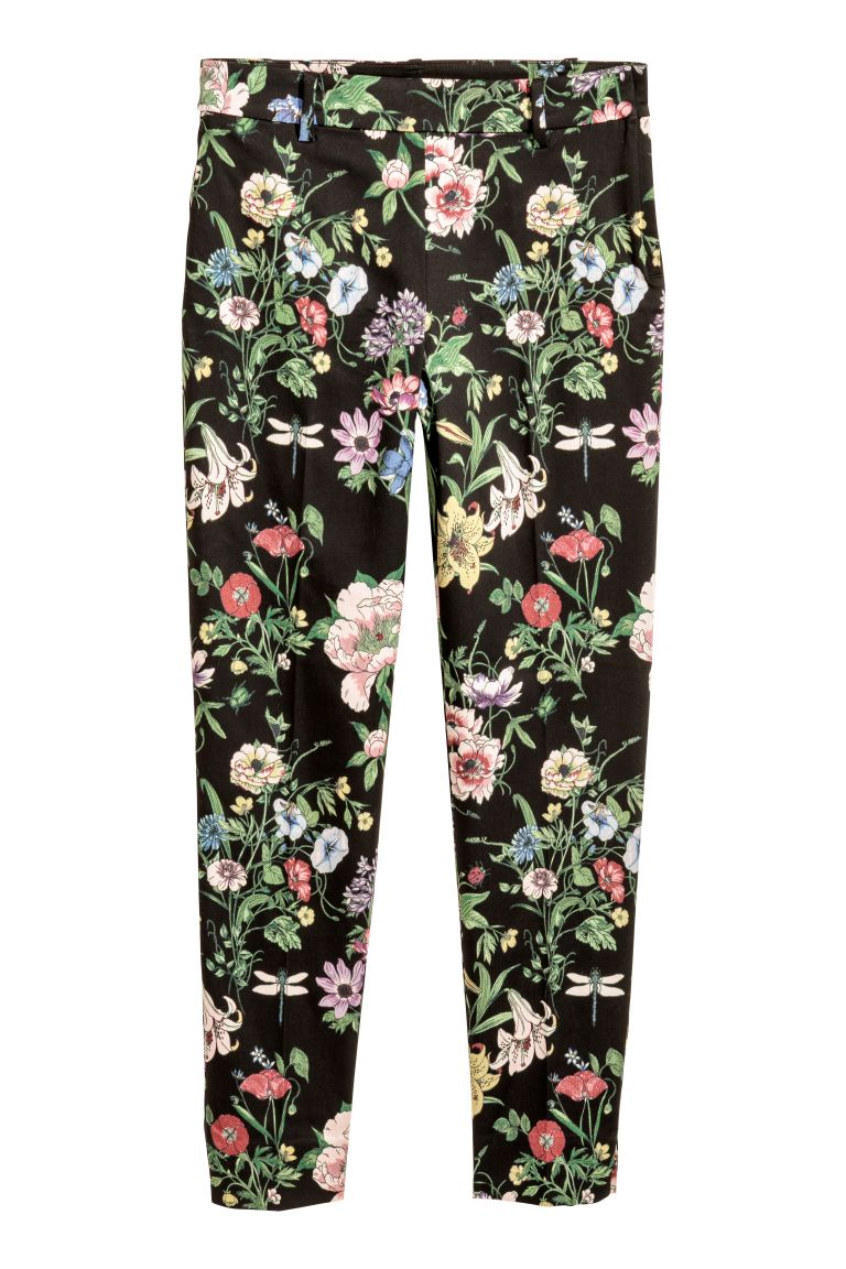Tailored trousers - Black/Floral - Ladies | H&M GB