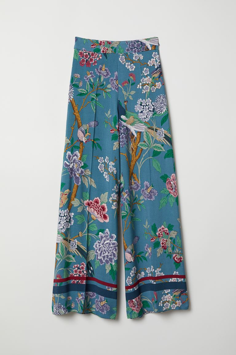 Wide trousers - Dusky blue/Floral - Ladies | H&M GB