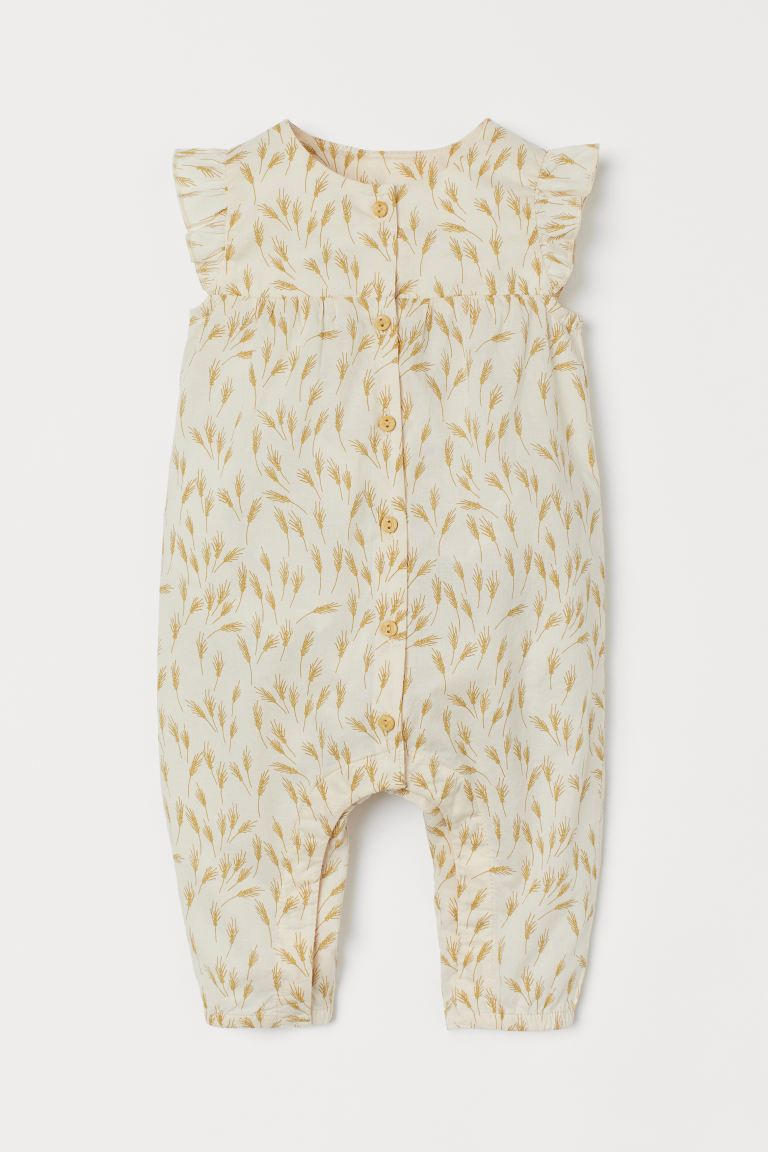 Cotton romper suit - Natural white/Wheat ears - Kids | H&M