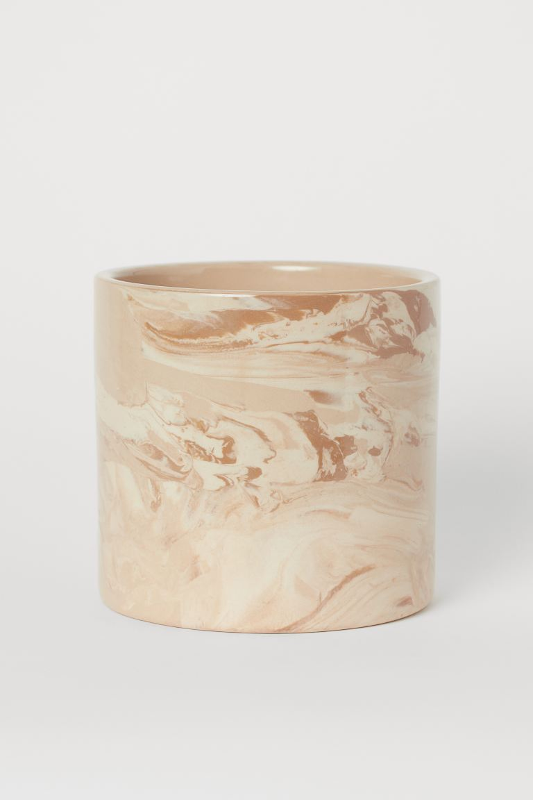 Ceramic Plant Pot - Beige/marble-patterned - Home All | H&M US