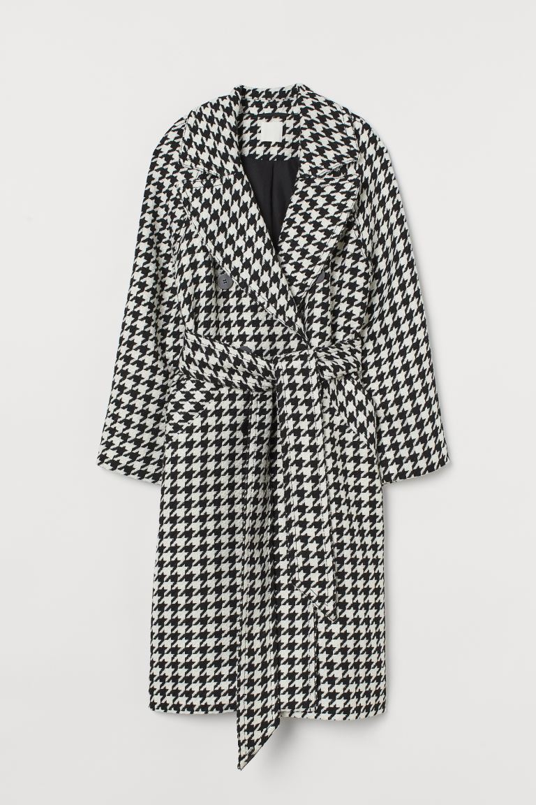 Houndstooth-patterned Coat - Black/houndstooth-patterned - Ladies | H&M CA