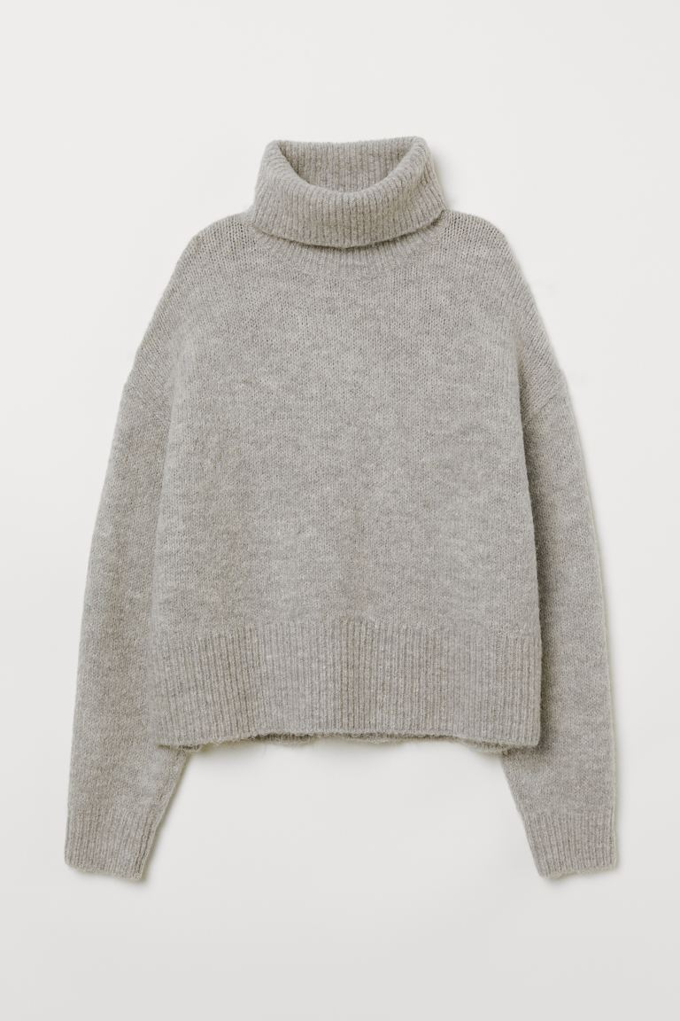 Knitted polo-neck jumper - Light grey marl - Ladies | H&M IE