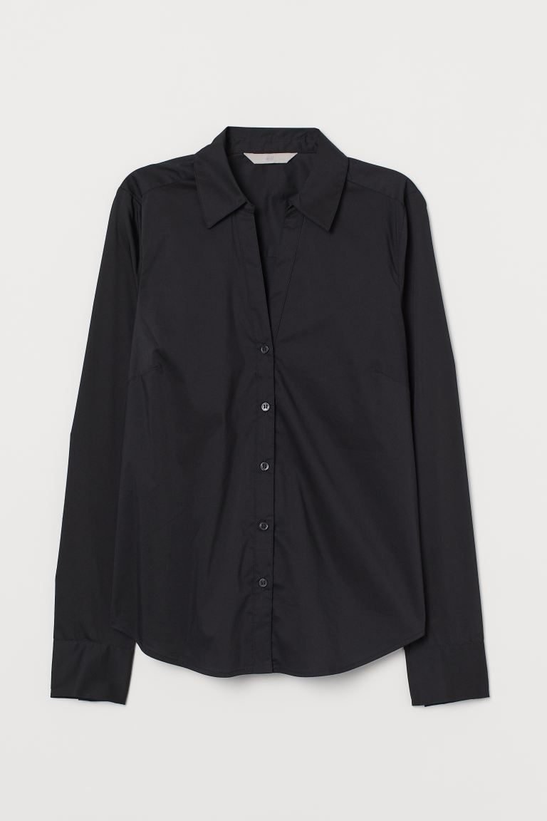 V-neck Cotton Poplin Shirt - Black - Ladies | H&M US