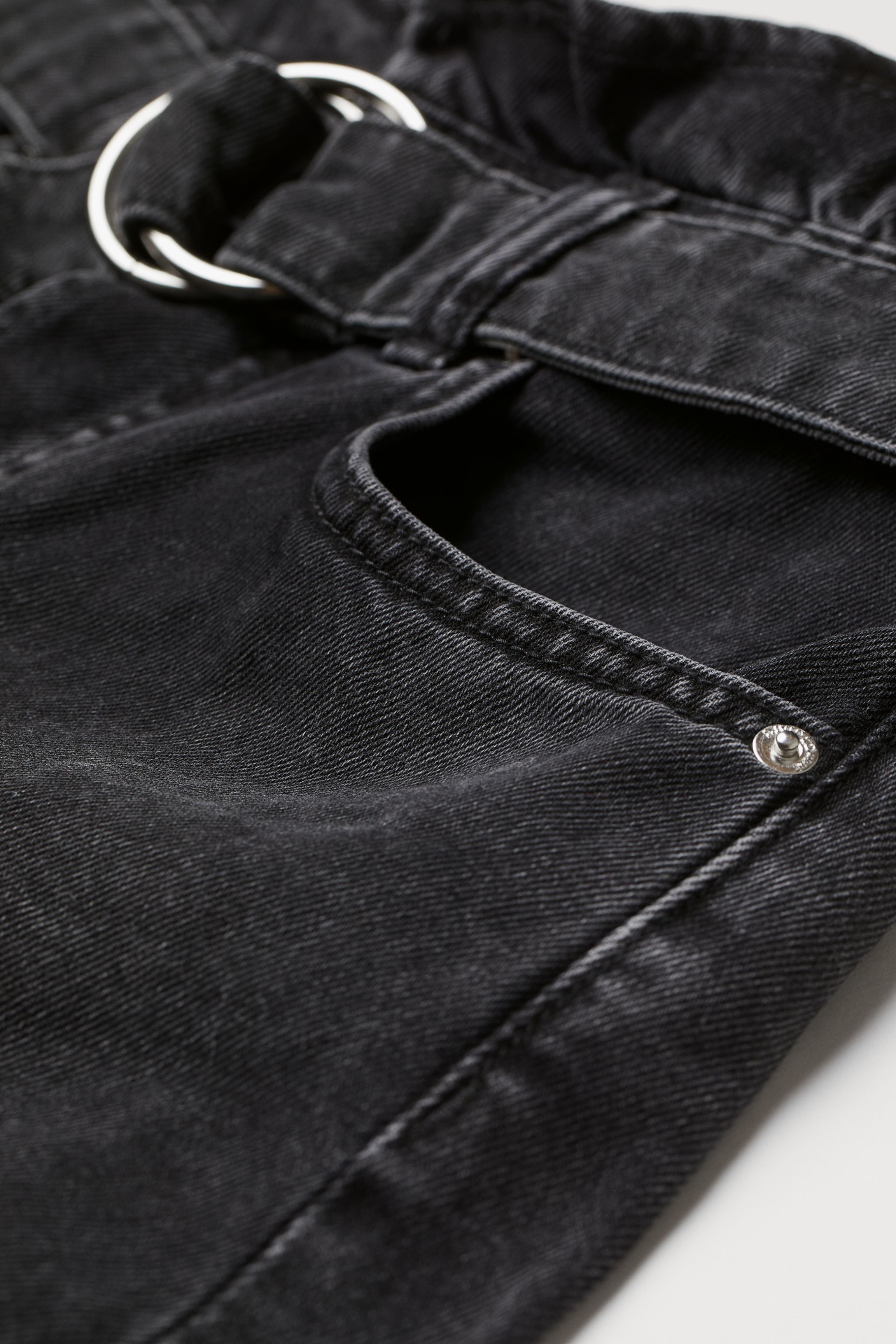 Denim Paper-bag Shorts