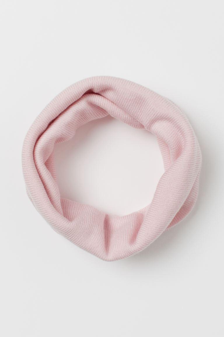 Knitted merino wool tube scarf