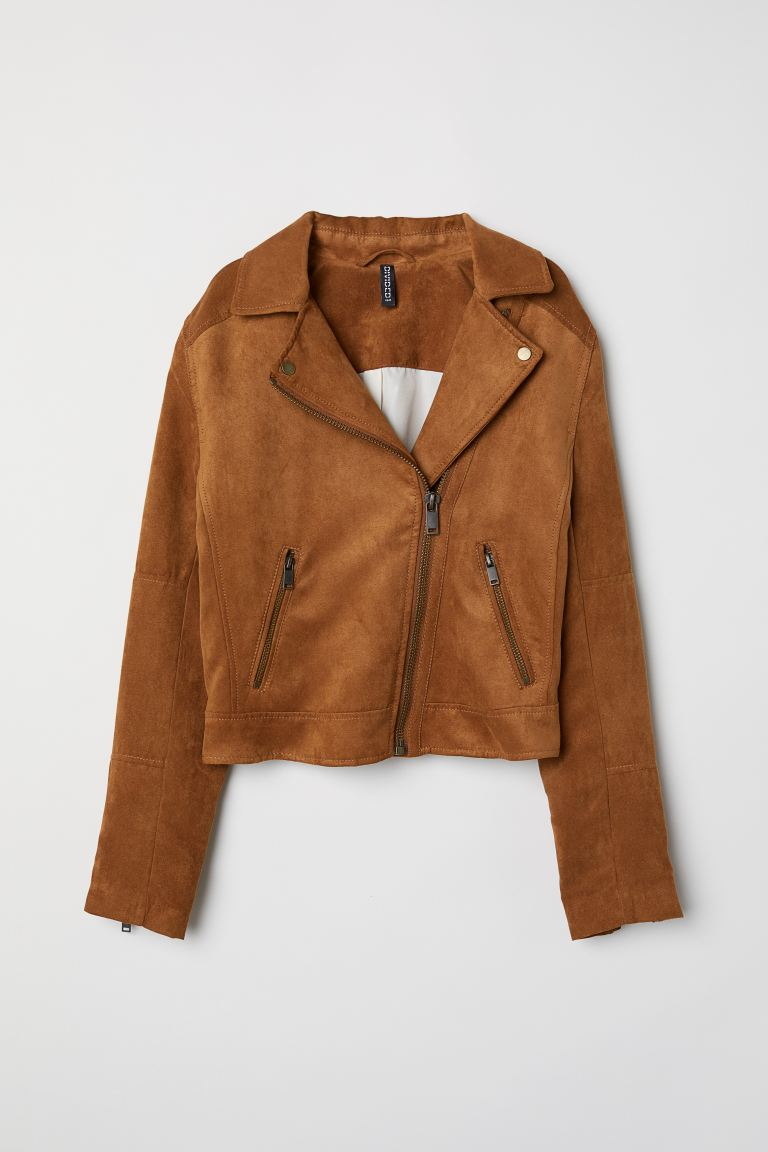 Faux Suede Biker Jacket - Dark camel - Ladies | H&M US