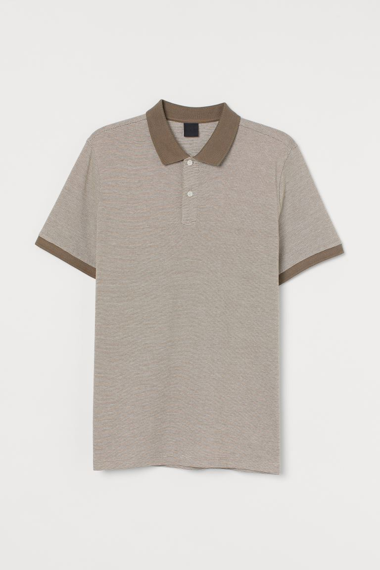 Slim Fit Polo Shirt - Taupe/striped - Men | H&M CA