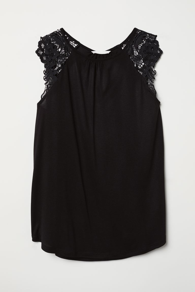 Jersey Top with Lace - Black - Ladies | H&M US