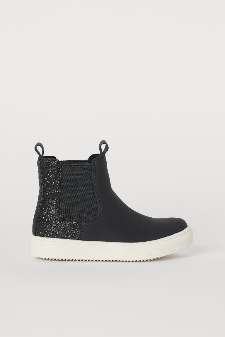 Warm-lined Chelsea Boots - Black/glitter - Kids | H&M US
