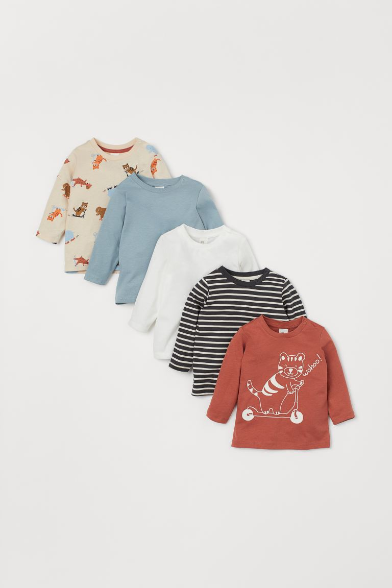 5-pack Cotton Shirts - Brick red/animals - Kids | H&M US