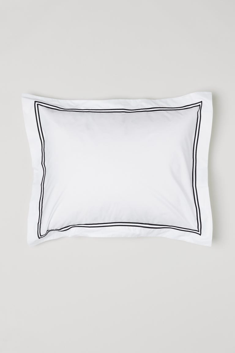 Cotton Percale Pillowcase - White/black - Home All | H&M US