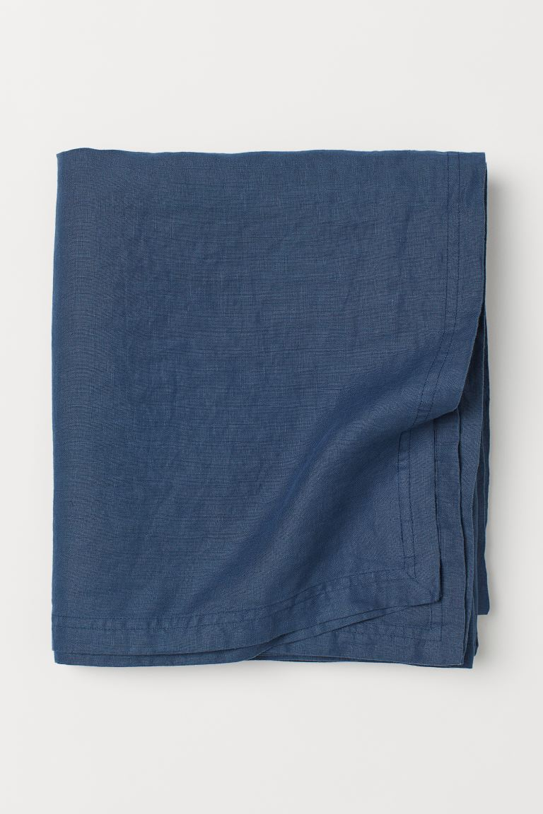 Washed Linen Tablecloth - Dark blue - Home All | H&M US