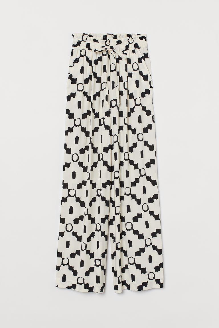Wide trousers - Light beige/Black patterned - Ladies | H&M GB