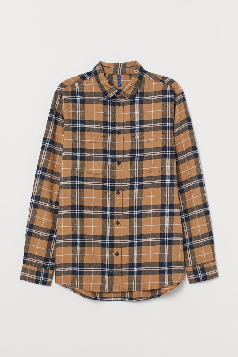 Cotton flannel shirt - Beige/Dark blue - Men | H&M