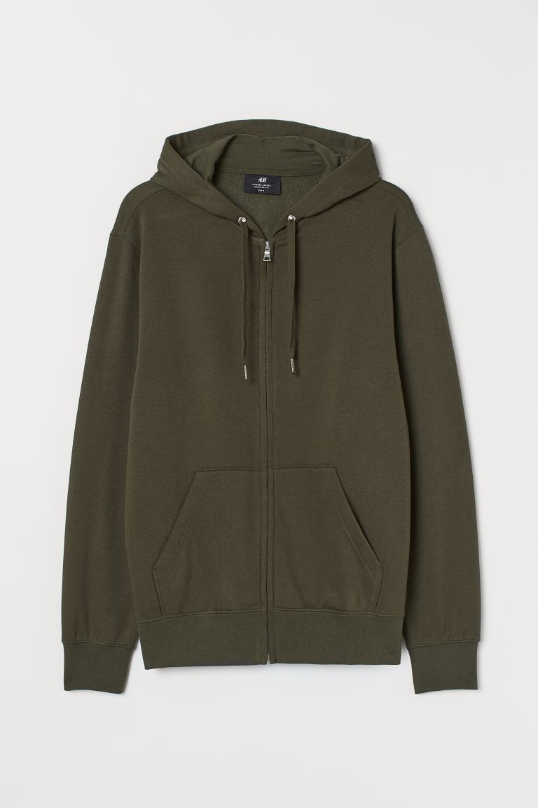 Regular Fit Hooded Jacket - Dark khaki green - Men | H&M CA