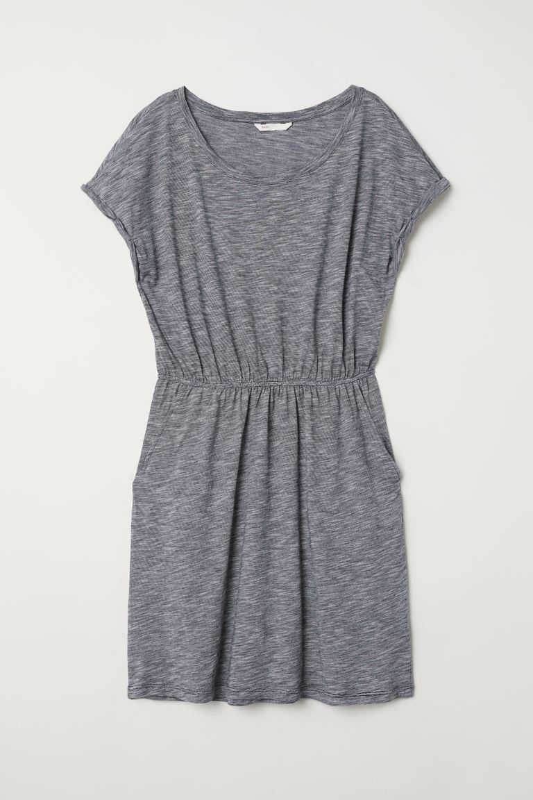 Jersey Dress - Dark blue/narrow striped - Ladies | H&M US