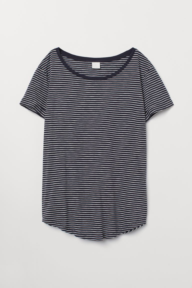 Round-neck T-shirt - Dark blue/white striped - Ladies | H&M US