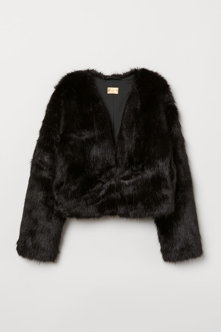 Short faux fur jacket - Black - Ladies | H&M GB