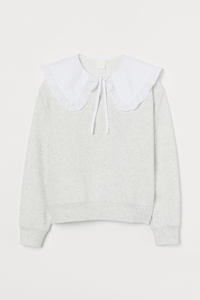 Collared Sweatshirt - Light gray melange - Ladies | H&M US 4