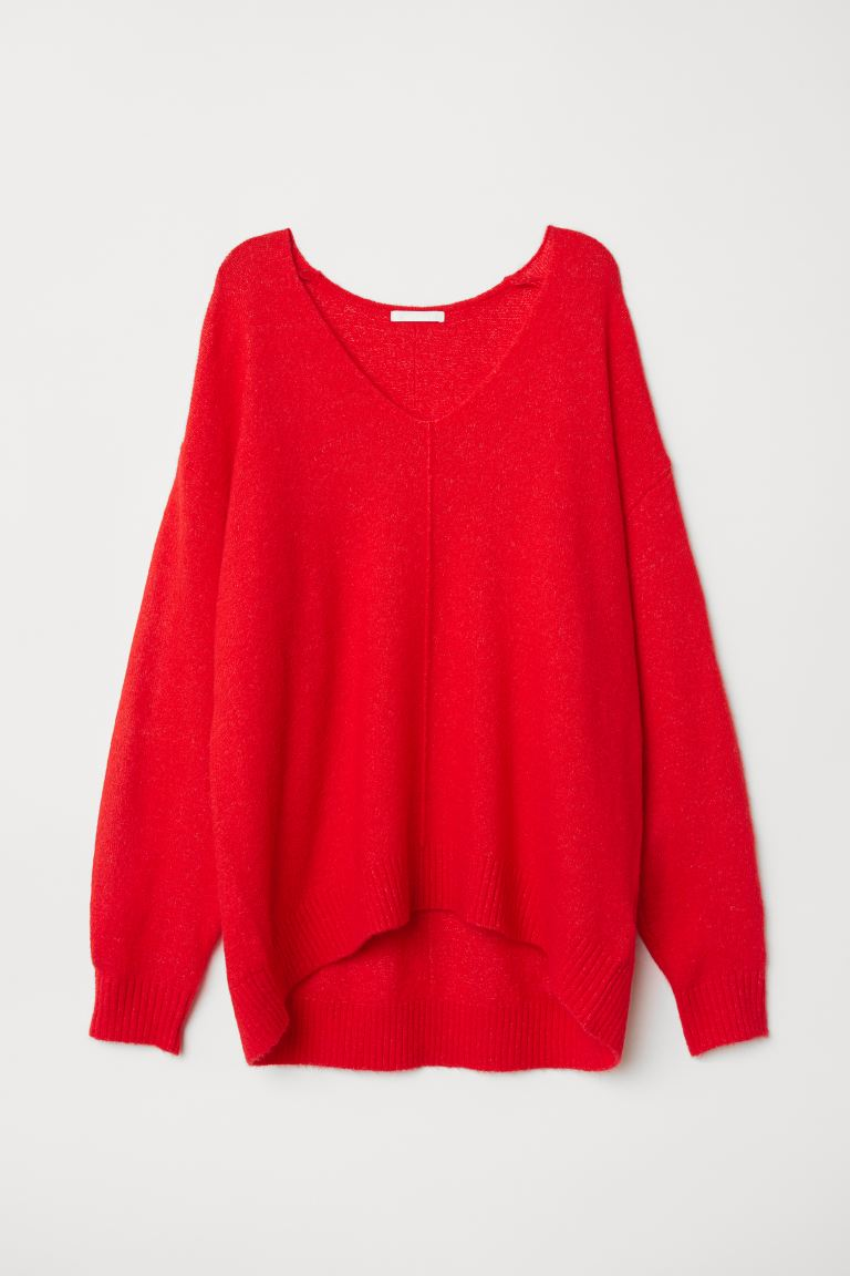 Fine-knit Sweater - Bright red - Ladies | H&M US