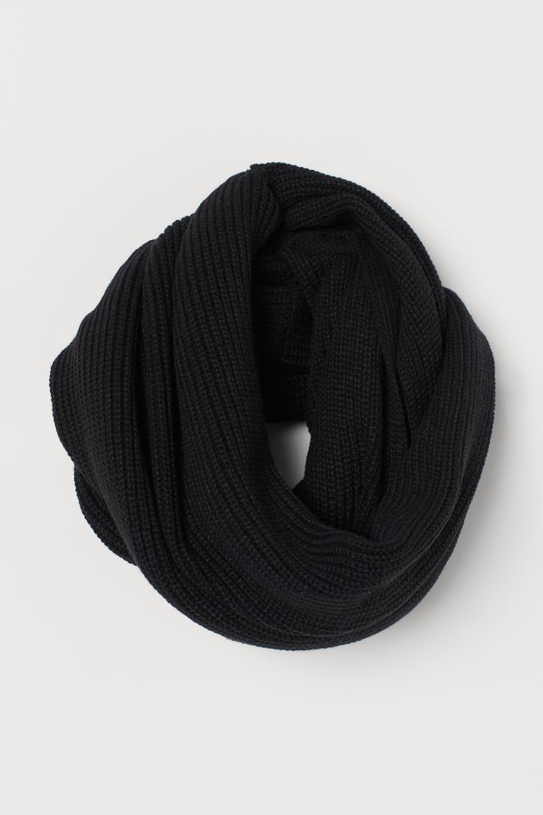 Ribbed tube scarf - Black - Ladies | H&M GB