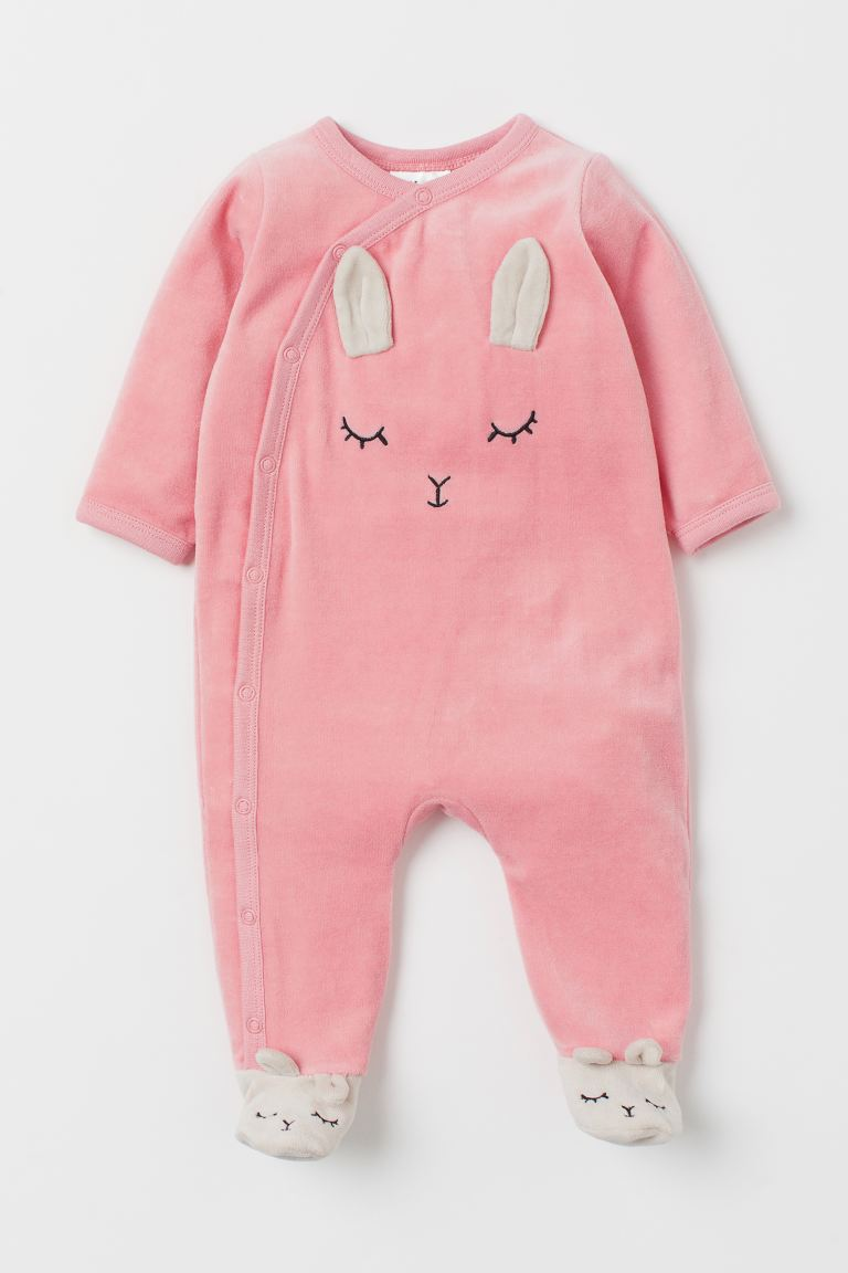 Velour all-in-one pyjamas - Pink/Rabbit - Kids | H&M IN