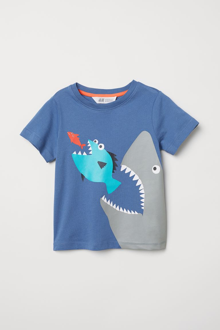 Printed T-shirt - Dark blue/Shark - Kids | H&M GB