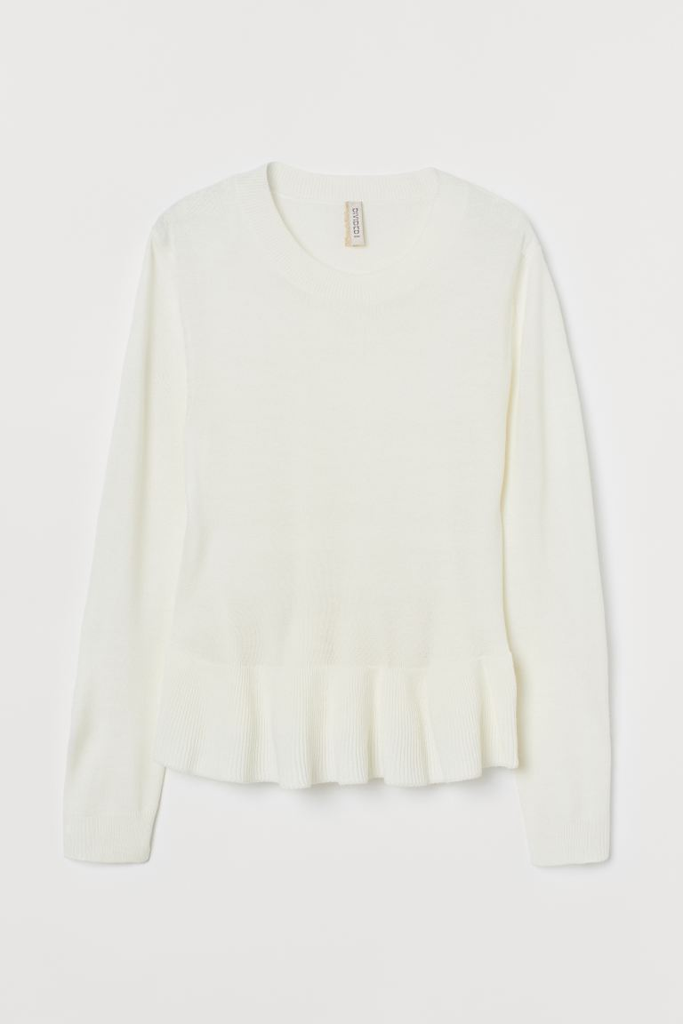 Peplumpullover - Weiß - Ladies | H&M AT