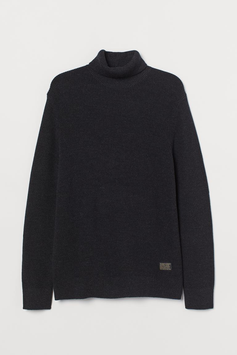 Cotton polo-neck jumper - Black marl - Men | H&M