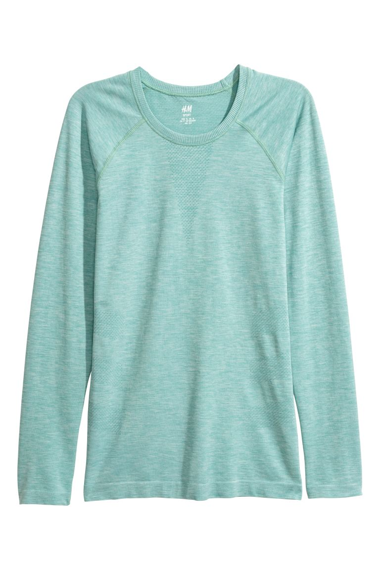 Seamless sports top - Light green marl - Ladies | H&M GB
