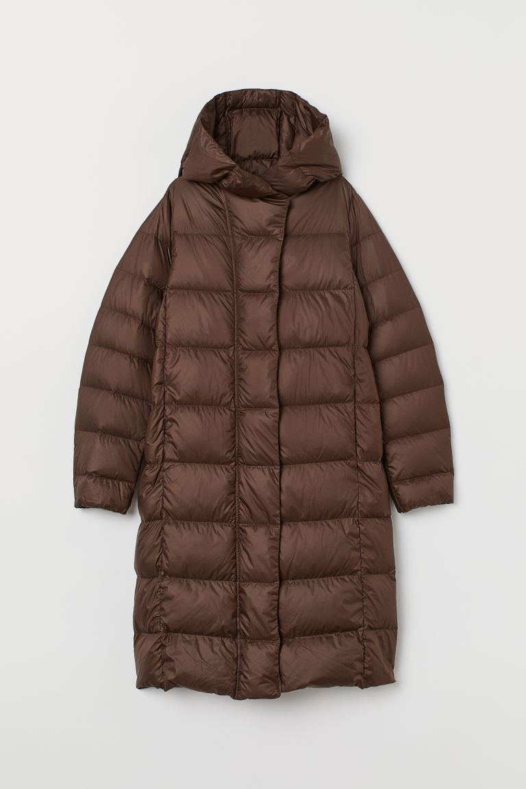 Lightweight hooded down coat - Dark brown - Ladies | H&M GB