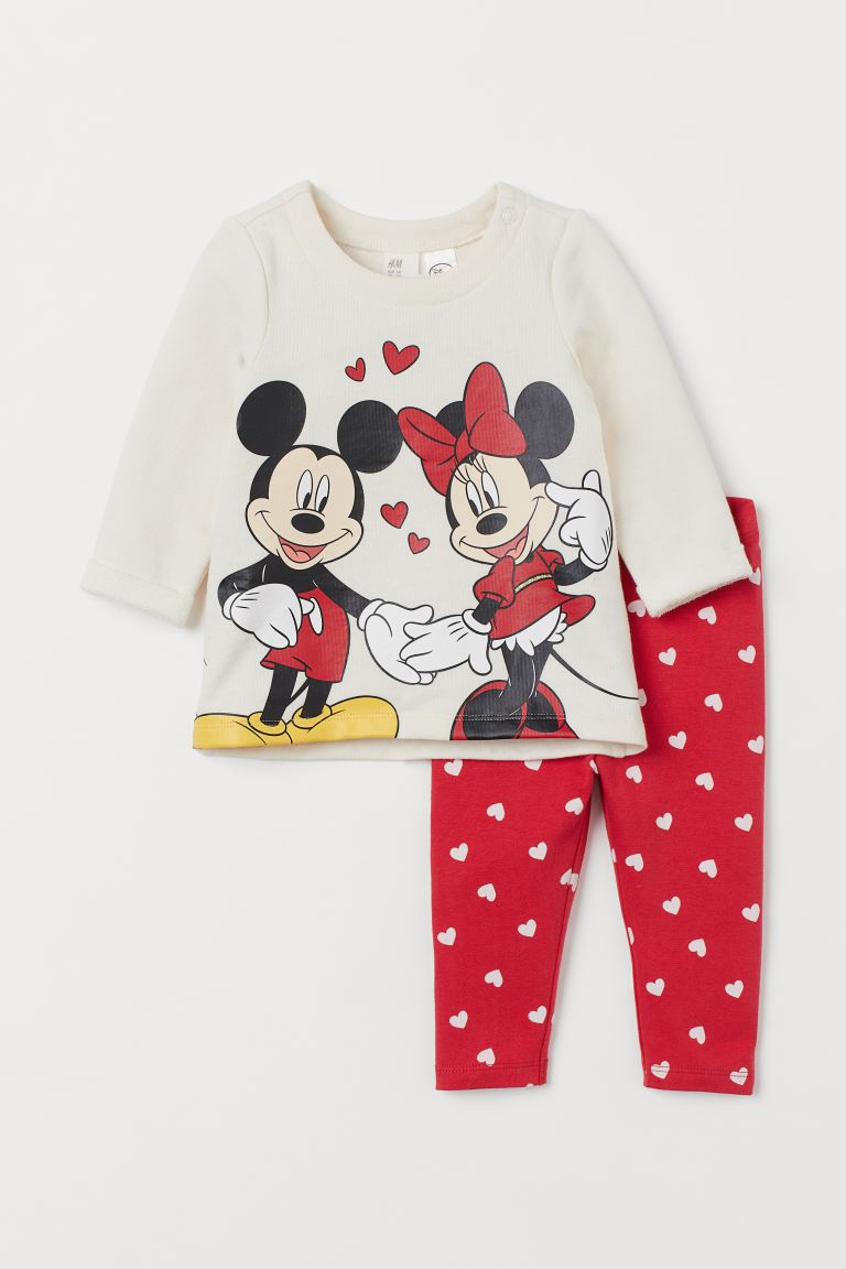 2-piece printed set - Red/Minnie Mouse - Kids | H&M GB