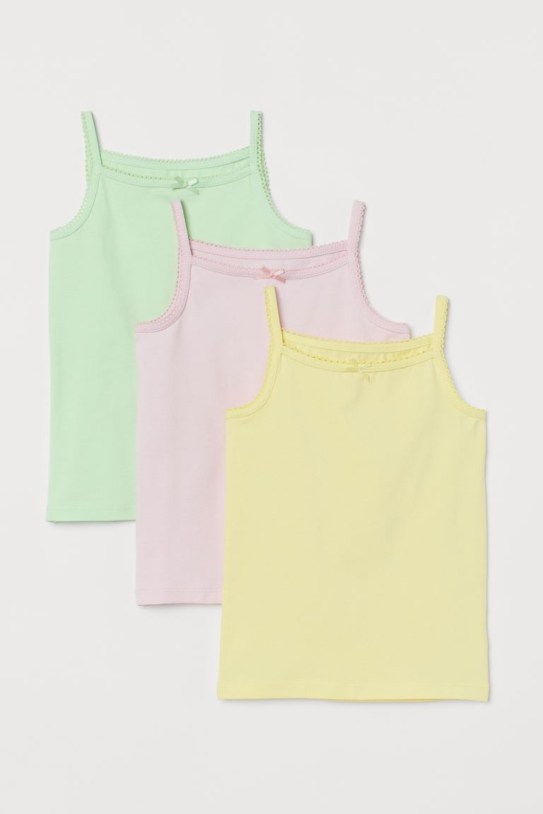 3-pack Jersey Tank Tops - Yellow/pink/green - Kids | H&M US
