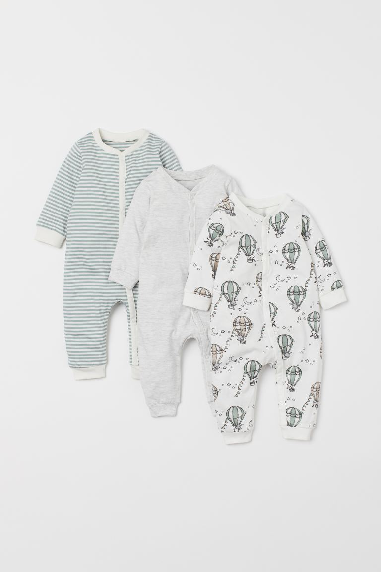 3-pack cotton pyjamas - Mint green/Hot air balloons - Kids | H&M