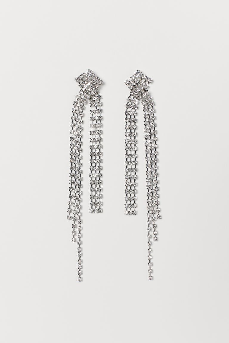 Long sparkly stone earrings - Silver-coloured - Ladies | H&M GB