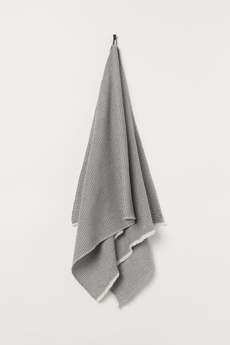 Waffled Bath Towel - Gray/white melange - Home All | H&M US