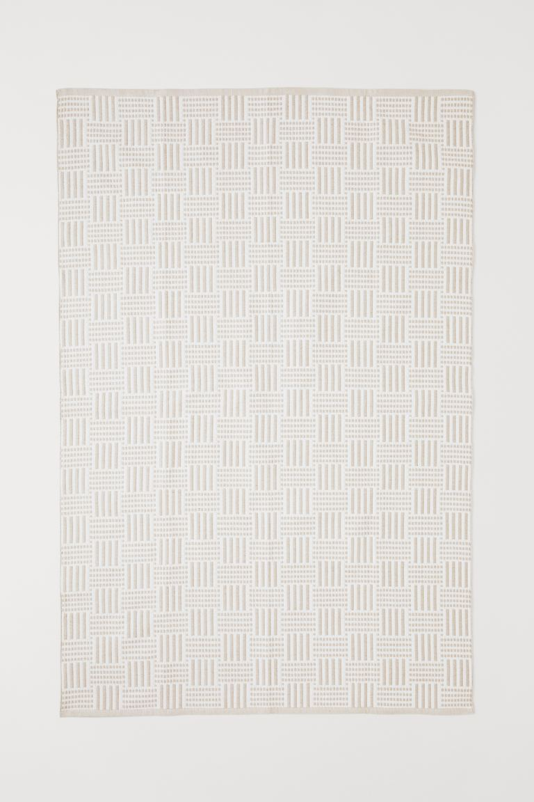 Jacquard-weave Cotton Rug - Beige/white - Home All | H&M CA